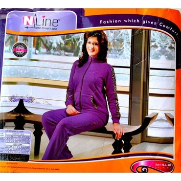 Fleece Night Suit Purple