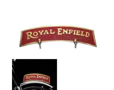Speedwav Brass Front Fender Plate Golden & Red for Royal Enfield