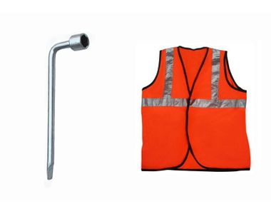 Speedwav 17mm L-Shaped Wheel Nut Spanner+Speedwav Reflective Safety Jacket