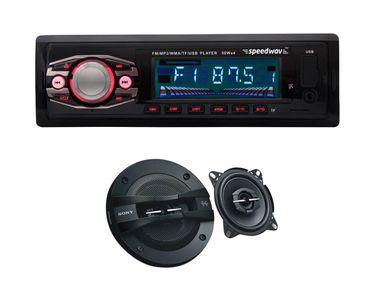 Speedwav FP-47 Car MP3 Stereo +Sony XS GTF10382 3 Way Speakers
