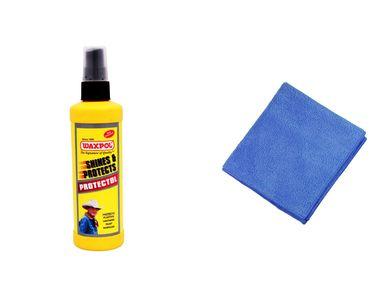 Waxpol Protectol Car Plastics / Leather Polish 200ml+Speedwav Microfiber Cloth