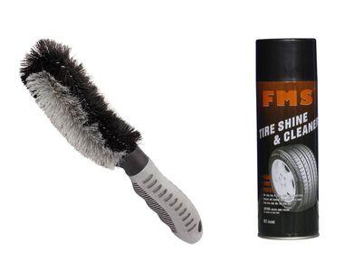 Speedwav Easy Clean Wheel Rim / Alloy Cleaning Brush+FMS Tyre Shine & Cleaner