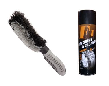 Speedwav Easy Clean Wheel Rim / Alloy Cleaning Brush+F1 Auto Tyre Shine & Cleaner
