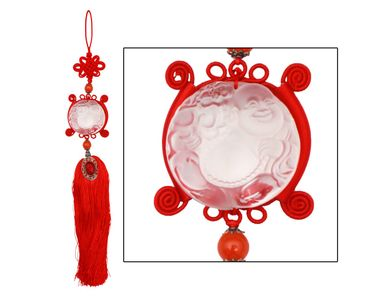 Speedwav Car Hanging Crystal Laughing Buddha - Red