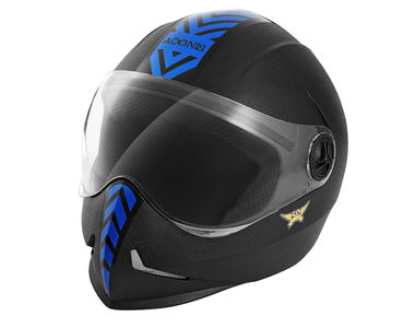 Steelbird Helmet - Adonis Dashing Black With Blue Sticker