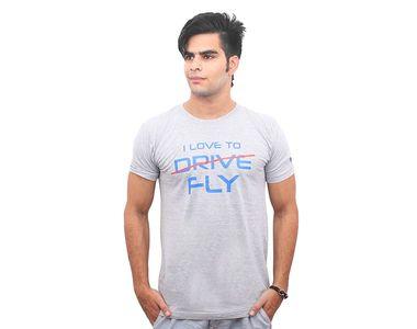 Jazzmyride Round Neck Half Sleeve T-Shirt-I Love To Drive/Fly - Grey