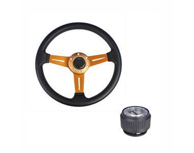 Golden 3 Spoke Sporty Steering Wheel with Hub