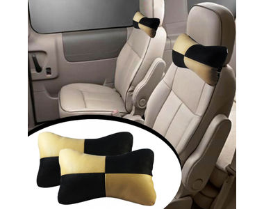 Speedwav Designer Car Seat Neck Cushion Pillow - Black and Beige Colour