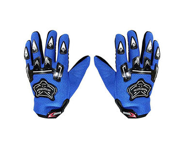 Knighthood 1 Pair of Hand Grip Gloves for Bike Motorcycle Scooter Riding - Blue Colour