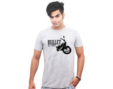Jazzmyride Round Neck Half Sleeve T-Shirt-Bullet Da Yaar - Grey