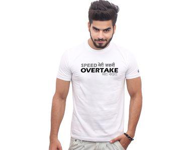 Jazzmyride Round Neck Half Sleeve T-Shirt-Speed Meri Jawani - White
