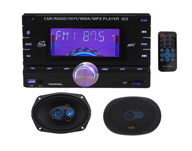 Speedwav DD-3001 Double Din Car MP3 Stereo+Speedwav GX-1625 7.5x11 Inches 3-Way Speakers