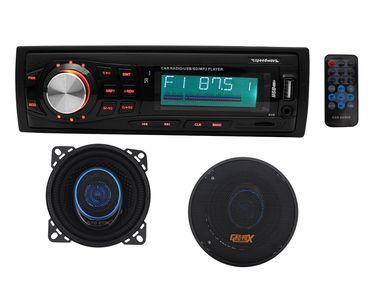 Speedwav 8002 Car MP3 Stereo + Speedwav GX-105 4 Inch 2-way Speaker Round Set of 2