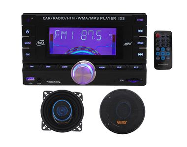 Speedwav DD-3001 Double Din Car MP3+Speedwav GX-105 4 Inch 2-way Speaker Round Set of 2