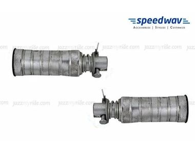 Speedwav Sporty Thick Silver Footrest/Footpegs for Rider And Passenger For All Bikes