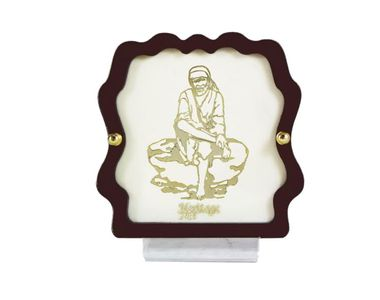 Lord Sai Baba 24 Carat Gold Plated Elegant Glass Framed Car Deity Idol