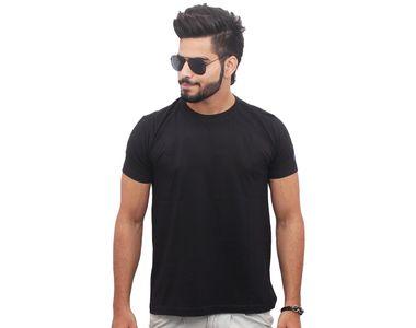 Jazzmyride Round Neck Half Sleeve T-Shirt-Black
