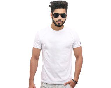 Jazzmyride Round Neck Half Sleeve T-Shirt-White
