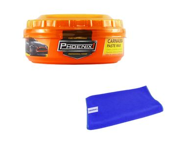 Phoenix Carnauba Car Paste Wax 230g+Speedwav Microfiber Cloth