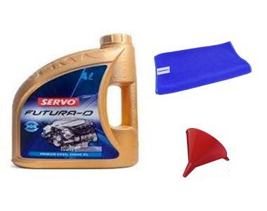 Servo Car FUTURA D 15W40 4 Litre Engine Oil+Microfiber Cloth+Funnel