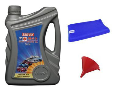 Servo Car MGO 5W30 3.5 Litre Engine Oil+Microfiber Cloth+Funnel