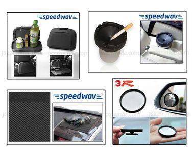 Combo of Speedwav Car Dining Tray-Black+ Anti-Slip Mat-Black+ Portable Ashtray & 3R Blind Spot Mirror
