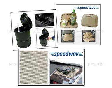 Combo of Speedwav Car Dining Tray-Beige+ Anti-Slip Mat-Beige & Ashtray with Blue LED