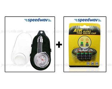 Combo of Speedwav Tyre Gauge & Tyre Pressure Indicator valve Caps
