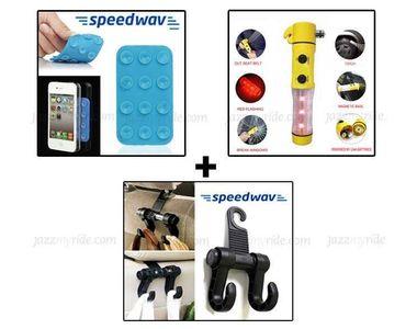 Combo of Speedwav 5 in 1 Hammer+ Luggage Hanger Hook & Mini Anti-Slip Mobile Pad