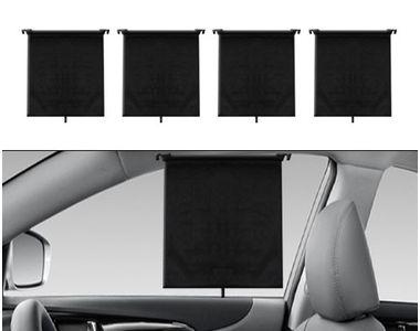 Speedwav Car Cuttable Roller Sunshades Curtain Set of 4-Black