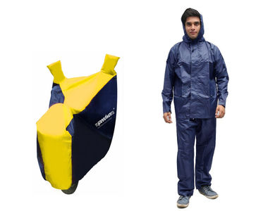 Speedwav Sporty Bike Body Cover BLUE & YELLOW+Rain Suit Navy Blue-Size 42