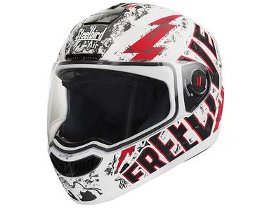 Steelbird Helmet - SBA 1 FREE LIVE Matt White with Red
