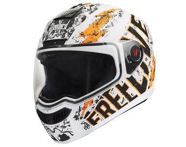 Steelbird Helmet - SBA 1 FREE LIVE Matt White with Orange