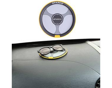 Speedwav Car Dashboard Anti Slip Mat Steering Wheel Shape Black Yellow-Sparco