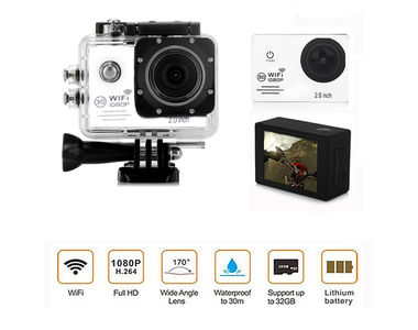 Speedwav Full HD 1080p DVR 2 Inch LCD Waterproof Action Camera with WiFi-White