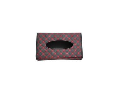 Speedwav Leatherette Diamond Design Car Foldable Tissue Holder Box-Black Red