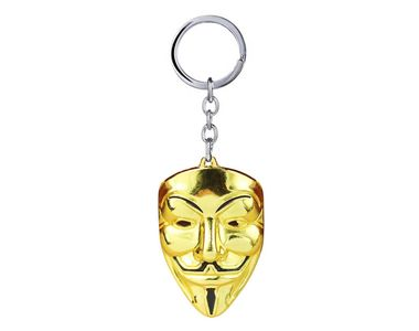 Guy Fawkes Mask Keychain- Gold