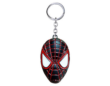 Spiderman Mask Metalic Keychain- Black and Red