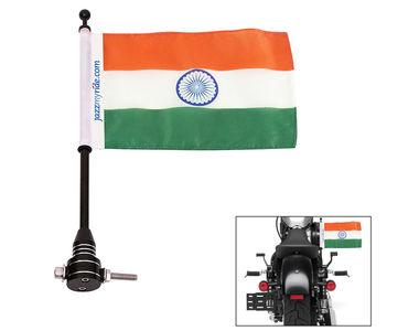 Speedwav Rear Indian Flag Black Pole Mount for Harley Davidson