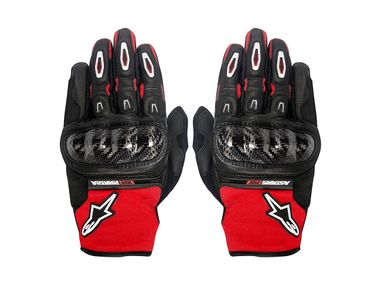 Alpinestars Megawatt Hard Knuckle Bike Riding Gloves-Black & Red White