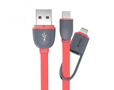 EYON 2in1 Micro USB/Lightning Port Data USB Cable for Android/iPhone5/6/7-Pink