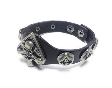 Jazzmyride Leatherette Men's Wrist Band Bracelet-Spades