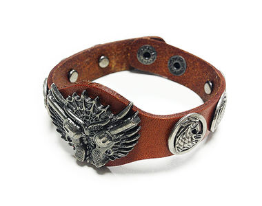Jazzmyride Leatherette Men's Wrist Band Bracelet-Guns and Hen