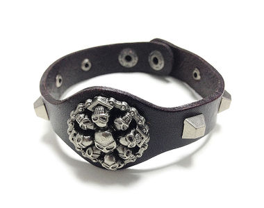 Jazzmyride Leatherette Men's Wrist Band Bracelet-Ring of Skulls
