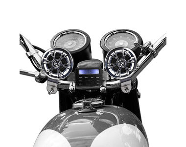 AV-M183 Bike Speakers Set with Music Player Controller For Harley Davidson Set of 2-Chrome