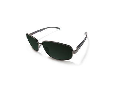 Jazzmyride 3351B Black Rectangle Rimed Polarized Sunglasses-Grey