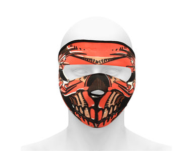 Speedwav Anti Dust/Pollution Biker Full Cover Face Mask-Orange Skull