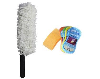 Speedwav Car Cleaning Kit Long Microfiber Duster + Sponge