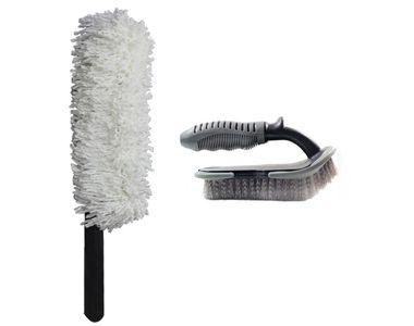 Speedwav Car Cleaning Kit Long Microfiber Duster + Floor Mats/Tyre Brush