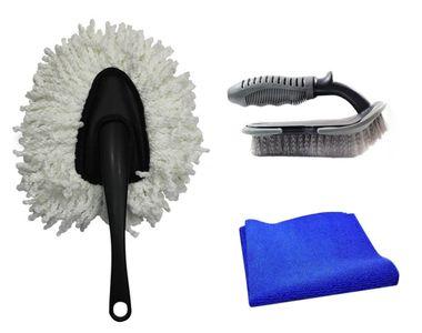 Speedwav Car Cleaning Kit Small Microfiber Duster+ Cloth + Mats/Tyre Brush